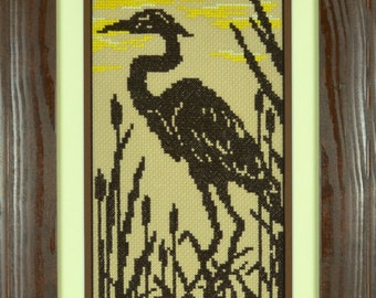 Heron Counted Cross Stitch Pattern PDF Chart Instant Download Black White Pattern