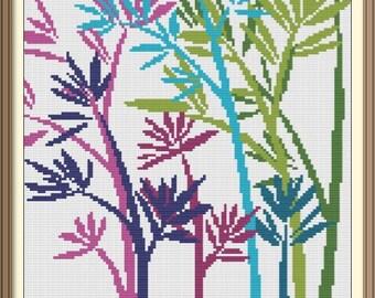 Nature Flora Abstract Modern Cross Stitch Pattern PDF Chart Silhouette Cross Stitch