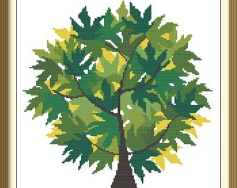 Spring Tree Modern Cross Stitch Pattern PDF Chart Instant Download Original Design in Green Colors