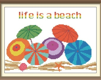 Hawaii Beach Umbrellas Counted Cross Stitch Pattern PDF Chart Instant Download Bright Colorful Beach Scene in Turquoise, Orange