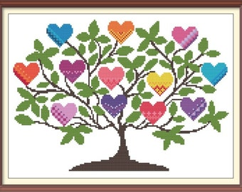 Tree with Hearts 1 Modern Cross Stitch Pattern PDF Chart Instant Download Colorful Hearts with Tree Valentine's Day