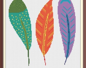 Feathers Modern Cross Stitch Pattern PDF Chart Instant Download Colorful Cross Stitch Pattern in Green, Orange, Purple