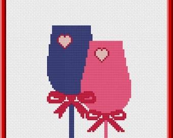 Love Glass Cross Stitch Pattern Instant Download Valentine's Day Wedding Cross Stitch Pattern