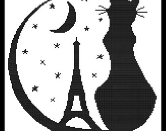 Eiffel Tower with Black Cat Counted Cross Stitch Pattern PDF Chart Instant Download Black Silhouette Pattern