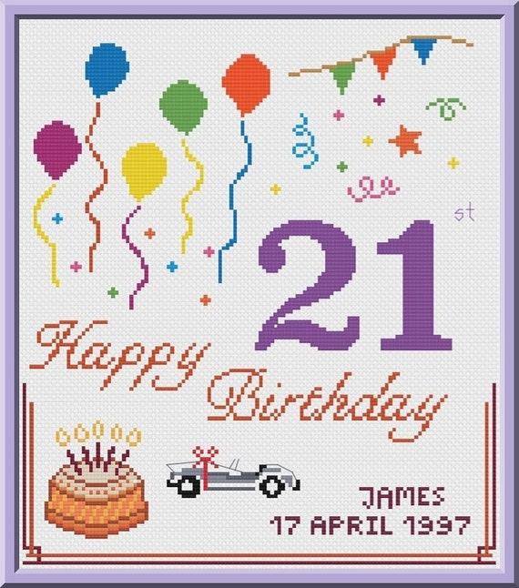 21st Birthday Cross Stitch Pattern Customizable Pdf Chart Etsy