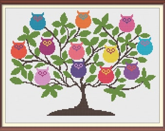 Tree with Owls Modern Cross Stitch Pattern PDF Chart Instant Download Colorful Owls on Branches
