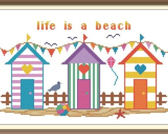 Beach Cabins Cross Stitch Pattern PDF Chart Instant Download Bright Colorful Beach Scene in Turquoise, Purple, and Orange