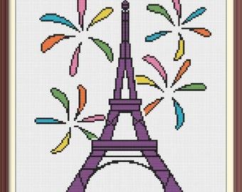 Eiffel Tower with Fireworks Modern Cross Stitch Pattern PDF Chart Tour Eiffel Paris Fireworks Colorful