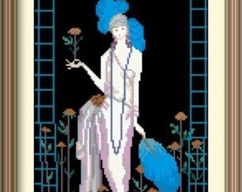 Rosary Counted Cross Stitch Pattern PDF Chart Instant Download Art Deco Design Georges Barbier Lady with Roses