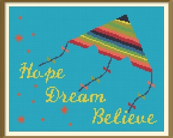 Kite Modern Cross Stitch Pattern PDF Chart Instant Download Colorful Cross Stitch Design Hope Dream Believe