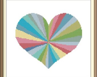 Colorful Geometric Heart Cross Stitch Pattern PDF Chart Instant Download Valentine's Day