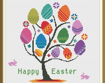 Easter Tree Modern Cross Stitch Pattern PDF Chart Instant Download Colorful Easter Eggs