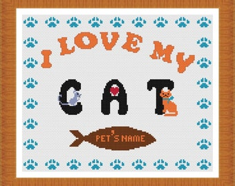 I love my Cat Customizable Cross stitch Pattern PDF Chart Personalized Cat Pattern