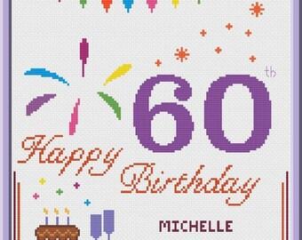 60th Birthday Cross Stitch Pattern Customizable PDF Chart Personalized Happy Birthday Card