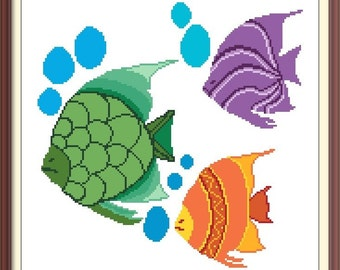 Fish Colorful Counted Cross Stitch Pattern PDF Chart Instant Download Modern Cross Stitch