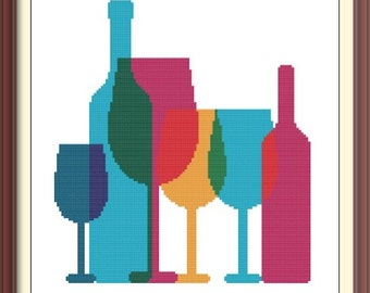 Bottles and Glasses Modern Abstract Cross Stitch Pattern PDF Chart Instant Download Silhouette Pattern