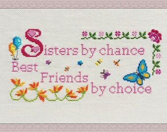 Sisters Cross Stitch Pattern PDF Chart Quote Instant Download