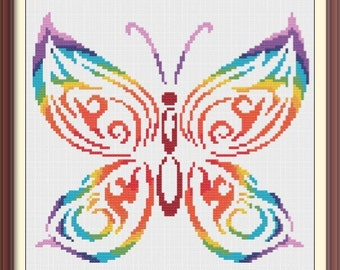 Butterfly Modern Colorful Counted Cross Stitch Pattern PDF Chart Instant Download Silhouette Cross Stitch