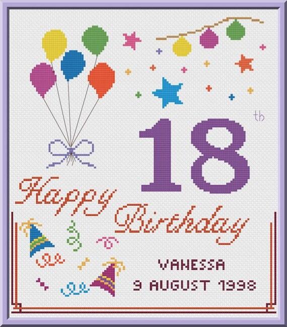 18th Birthday Cross Stitch Pattern Customizable PDF Chart