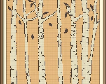Birches Autumn Counted Cross Stitch Pattern PDF Chart Modern Art Instant Download Abstract Cross Stitch