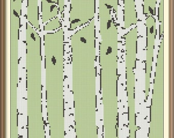 Birches Counted Cross Stitch Pattern PDF Chart Modern Art Instant Download Abstract Cross Stitch