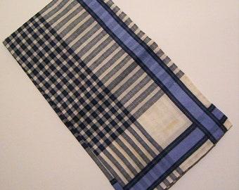 Vintage Blue & White Men's Handkerchief