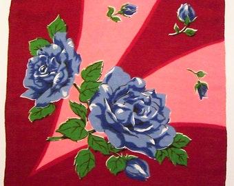 Vintage Maroon & Pink Hankie with Blue Flowers