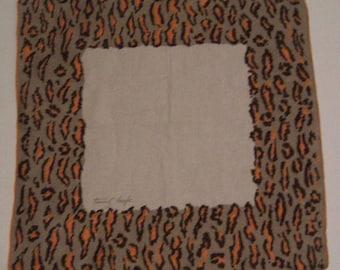 Tammis Keefe Designer Vintage Gray Animal Print Handkerchief