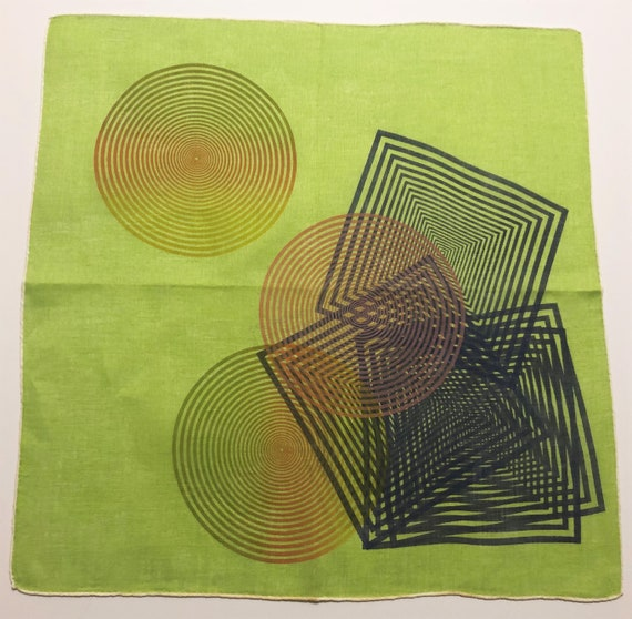 Vintage Unused Lime Green Hankie with Geometric Sh