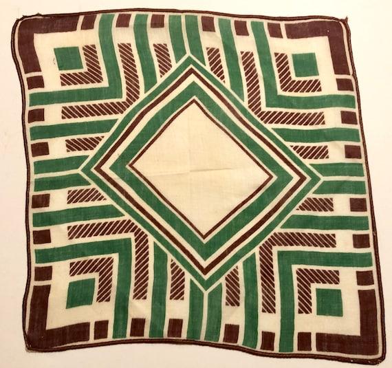 Vintage Brown /& White Geometric Deco Hankie