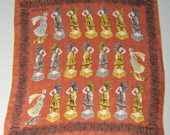 Tammis Keefe Designer Vintage Indian Women's Handkerchief