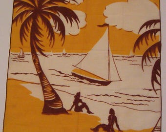 Vintage Hankie of Two Ladies on the Beach with Palm Trees and Sailboat