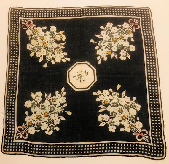 Vintage Unused Black /& White Hankie with Blue Floral Design