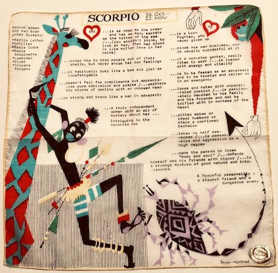 Vintage Unused Scorpio Zodiac Hankie