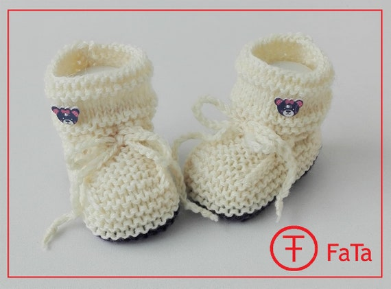 eee0a611e9086 Baby Booties Baby shoes baptismal shoes in white knitted wool mixture