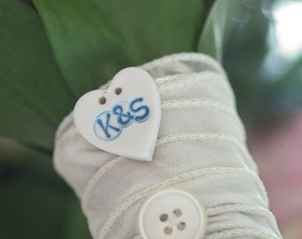 Wedding Something Blue Custom Button, Personalised Bouquet Charm, Buttonhole, Boutonniere Charm