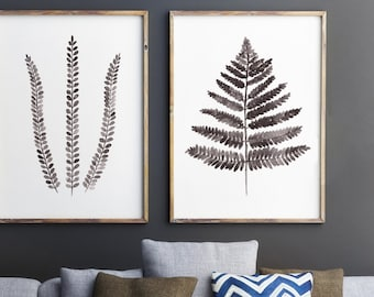Fern Illustration, Set of 2 Ferns Drawing, Abstract Leaf Art Print, Brown Botanical Fern Beige Decor