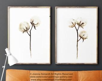 Cotton Ball Watercolor Painting, Cotton Stems set 2 Cotton Bolls, Cotton Art Print Second Wedding Anniversary Gift Idea