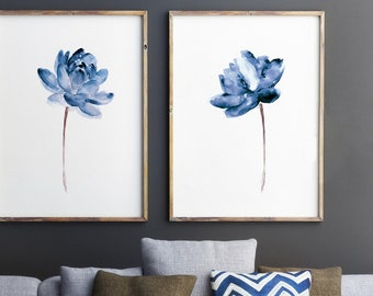 Lotus Set of 2 Watercolor Painting, Blue Water Flowers Canvas Art Print, Modern Floral Illustration Wall Decor, Abstract Flower Poster