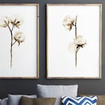 Cotton Bolls Watercolor Painting, Set 2 Cotton Flowers Abstract Brown Beige Home Decor, Shabby Chic Wall Art Print, Cotton Ball Illustration