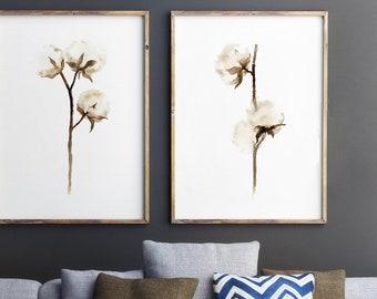 Cotton Bolls Watercolor Painting, Cotton Watercolor Painting, Cotton set of 2 Flowers, Brown Beige Home Decor, Shabby Chic Wall Art Print