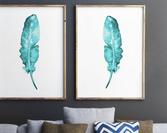 Set of 2, Feathers Wall Decor, Teal Art Print, Two Posters, Turquoise Giclee Print, Feather painting