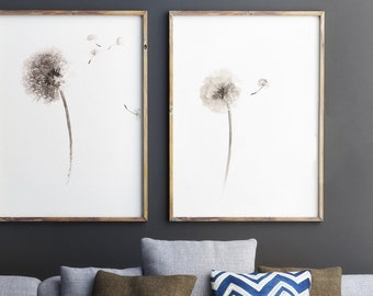 Set of 2, Dandelion Flowers, Wall Decor, Natural Art Print, Two Posters, Beige Giclee Print, Dandelions seeds, Watercolor painting