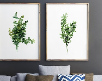 Thyme, Set of 2 Watercolor Painting, Botanical Artwork, Green Leaves, Floral Illustration, Herbs Art Print