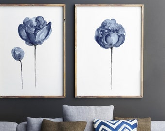 Navy Peony Watercolor Painting, Baby Boy Blue Nursery Wall Decoration Kids  Room Art Print, Floral Living Room Decor Peonies Illustration Set