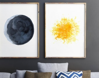 Full Moon Watercolor Painting Abstract Minimalist Moon Etsy
