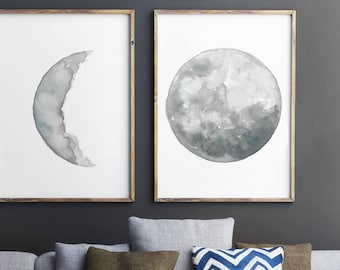 Moon Phase Drawing, set of 2 Moon Art Prints, Full Moon Watercolour Painting Minimalist Illustration, Gray Crescent Moon Lunar Phase Poster