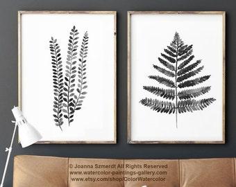 Fern Illustration set 2 Ferns, Black White Grey Watercolour Art Print, Abstract Botanical Charcoal Drawing, Fern Leaf Living Room Ink Decor