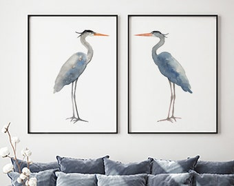 Heron Painting, Heron Print, Heron Art, Blue Heron set of 2 Birds, Egret Watercolor Painting Lake Bird Print, Bird Art Print
