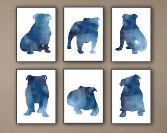English Bulldog Silhouette set 6, Dog Poster Navy Blue Watercolour Art Print, Abstract Minimalist Animal Wall Decor, Breed Home Decoration